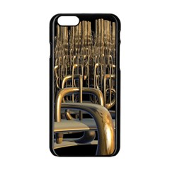 Fractal Image Of Copper Pipes Apple Iphone 6/6s Black Enamel Case by Jojostore