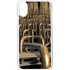 Fractal Image Of Copper Pipes Apple Iphone X Seamless Case (white) by Jojostore