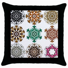 A Set Of 9 Nine Snowflakes On White Throw Pillow Case (black) by Jojostore