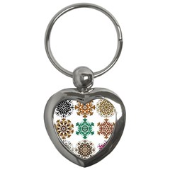 A Set Of 9 Nine Snowflakes On White Key Chains (heart)  by Jojostore