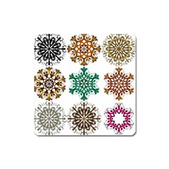 A Set Of 9 Nine Snowflakes On White Square Magnet