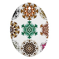 A Set Of 9 Nine Snowflakes On White Oval Ornament (two Sides)
