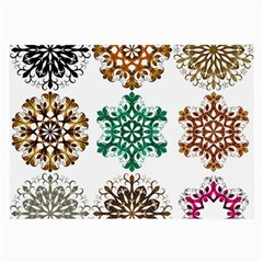 A Set Of 9 Nine Snowflakes On White Large Glasses Cloth (2 Side) by Jojostore