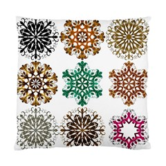 A Set Of 9 Nine Snowflakes On White Standard Cushion Case (one Side)