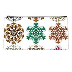 A Set Of 9 Nine Snowflakes On White Pencil Cases