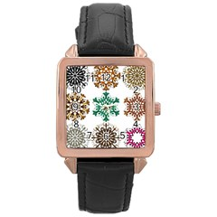 A Set Of 9 Nine Snowflakes On White Rose Gold Leather Watch
