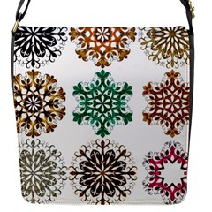 A Set Of 9 Nine Snowflakes On White Flap Closure Messenger Bag (s)
