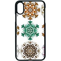 A Set Of 9 Nine Snowflakes On White Apple Iphone X Seamless Case (black) by Jojostore