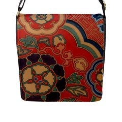 Vintage Chinese Brocade Flap Closure Messenger Bag (l) by Jojostore