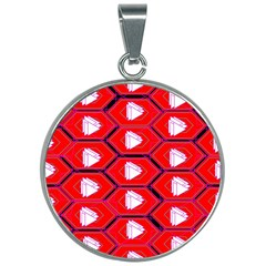 Red Bee Hive 30mm Round Necklace