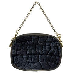 Black Burnt Wood Texture Chain Purse (two Sides)