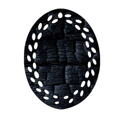 Black Burnt Wood Texture Oval Filigree Ornament (two Sides)
