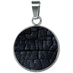 Black Burnt Wood Texture 20mm Round Necklace