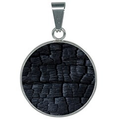 Black Burnt Wood Texture 25mm Round Necklace