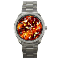 Background Pattern Lines Oval Sport Metal Watch by Jojostore