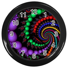 Fractal Background With High Quality Spiral Of Balls On Black Wall Clock (black) by Jojostore