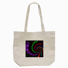 Fractal Background With High Quality Spiral Of Balls On Black Tote Bag (cream) by Jojostore