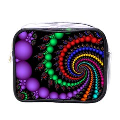 Fractal Background With High Quality Spiral Of Balls On Black Mini Toiletries Bag (one Side)