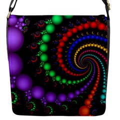 Fractal Background With High Quality Spiral Of Balls On Black Flap Closure Messenger Bag (s)