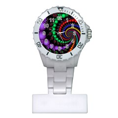 Fractal Background With High Quality Spiral Of Balls On Black Plastic Nurses Watch by Jojostore