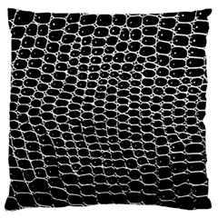 Black White Crocodile Background Large Flano Cushion Case (two Sides)