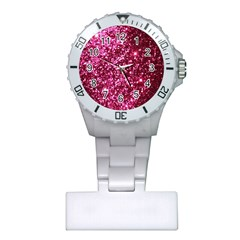 Pink Glitter Plastic Nurses Watch by Jojostore
