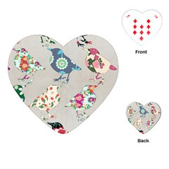 Birds Floral Pattern Wallpaper Playing Cards (heart) by Jojostore