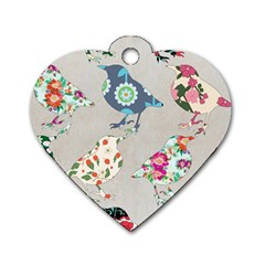Birds Floral Pattern Wallpaper Dog Tag Heart (two Sides) by Jojostore