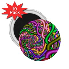 Fractal Background With Tangled Color Hoses 2 25  Magnets (10 Pack)  by Jojostore