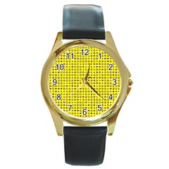 Heart Circle Star Seamless Pattern Round Gold Metal Watch by Jojostore