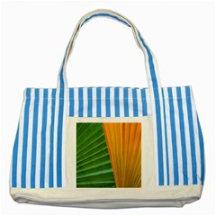 Pattern Colorful Palm Leaves Striped Blue Tote Bag by Jojostore