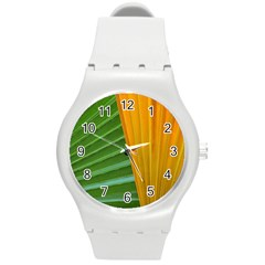 Pattern Colorful Palm Leaves Round Plastic Sport Watch (m)