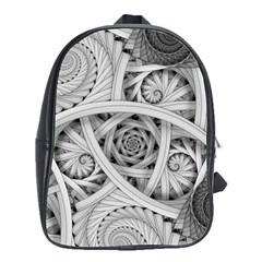 Fractal Wallpaper Black N White Chaos School Bag (large)
