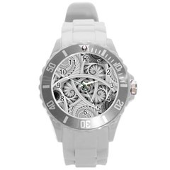 Fractal Wallpaper Black N White Chaos Round Plastic Sport Watch (l) by Jojostore