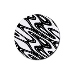 Black And White Wave Abstract Rubber Coaster (round)
