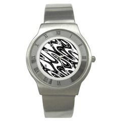 Black And White Wave Abstract Stainless Steel Watch