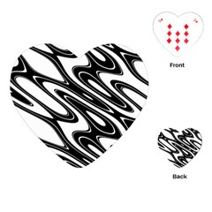 Black And White Wave Abstract Playing Cards (heart) by Jojostore