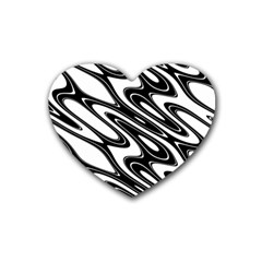 Black And White Wave Abstract Rubber Coaster (heart)  by Jojostore