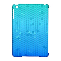 Blue Seamless Black Hexagon Pattern Apple Ipad Mini Hardshell Case (compatible With Smart Cover)