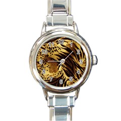 Stripes Tiger Pattern Safari Animal Print Round Italian Charm Watch