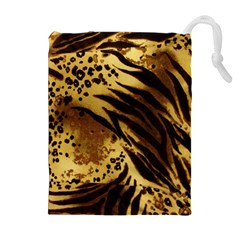 Stripes Tiger Pattern Safari Animal Print Drawstring Pouch (xl) by Jojostore
