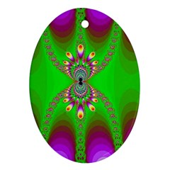Green And Purple Fractal Oval Ornament (two Sides) by Jojostore