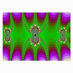 Green And Purple Fractal Large Glasses Cloth (2 Side) by Jojostore