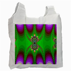 Green And Purple Fractal Recycle Bag (one Side) by Jojostore