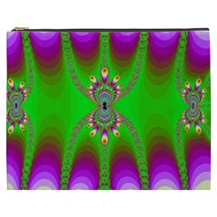 Green And Purple Fractal Cosmetic Bag (xxxl) by Jojostore