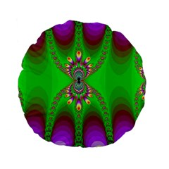 Green And Purple Fractal Standard 15  Premium Flano Round Cushions