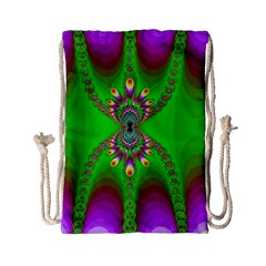 Green And Purple Fractal Drawstring Bag (small) by Jojostore