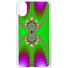 Green And Purple Fractal Apple Iphone X Seamless Case (white)