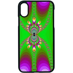 Green And Purple Fractal Apple Iphone X Seamless Case (black) by Jojostore