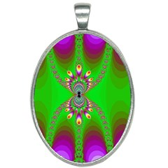 Green And Purple Fractal Oval Necklace by Jojostore